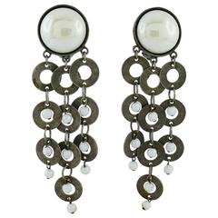 Paco Rabanne Vintage Metal and Glass Cabochon Dangling Earrings