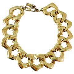 1980s Yves Saint Laurent Necklace Goldtone Hearts