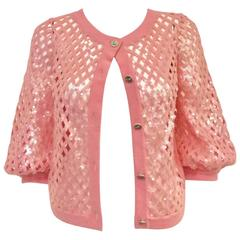2008 Chanel Pink Lattice Woven Cashmere Cardigan With Sequins Allover