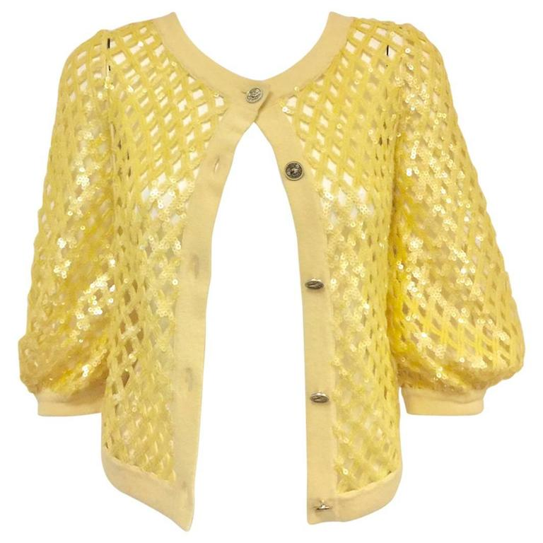 2008 Chanel Lemon Open Lattice Woven Cashmere Cardigan / Sequins Allover
