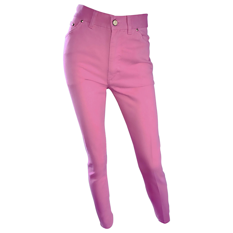 1990s Escada by Margaretha Ley Bubblegum Pink High Waisted Skinny Vintage Jeans