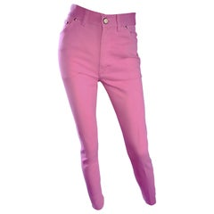 1990s Escada by Margaretha Ley Bubblegum Pink High Waisted Skinny Vintage Jeans