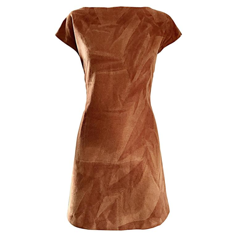 Rare 1960s Karl Lagerfeld for Fendi Rust Brown Abstract Wool A - Line 60s Dress