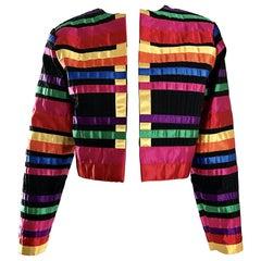 Fabulous Vintage Tachi Castillo Colorful Cotton + Silk Cropped Ribbon Jacket