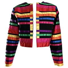 Fabulous Vintage Tachi Castillo Colorful Cotton + Silk Cropped Ribbon Jacket