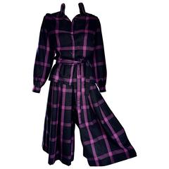 Chic Vintage Guy Laroche Fuchsia + Black Wool Shirt and Culottes Pant Suit Set