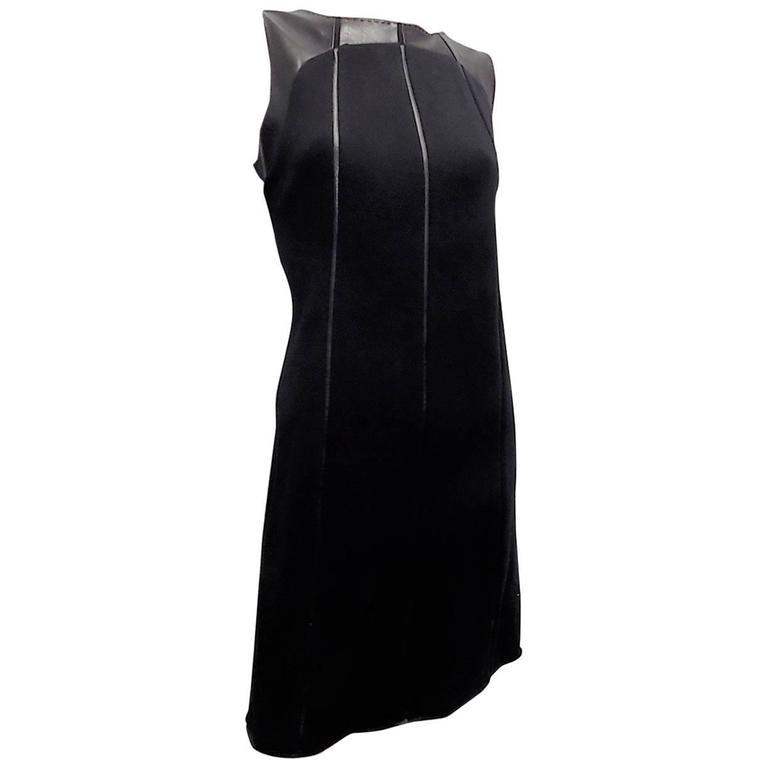 Ralph Rucci Chado Black Jersey dress with Leather Inserts Sz 12
