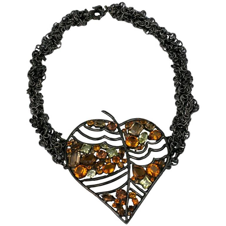 Rochas Haute Couture Jewelled Leaf For Sale