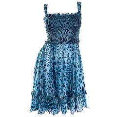 New Giambattista Valli Blue Leopard Print Silk Chiffon Semi Sheer Babydoll Dress