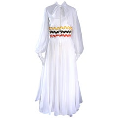 Vintage Oscar de la Renta 1970s Rare 3 Piece White Jumpsuit w/ Pants and Vest