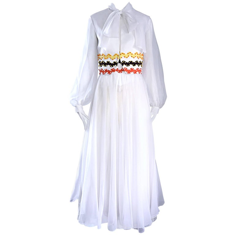 Vintage Oscar de la Renta 1970s Rare 3 Piece White Jumpsuit w/ Pants and Vest  For Sale