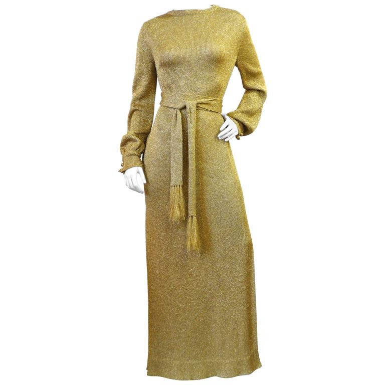 Super Model Length 1970s Gold Metallic Knit Lame Gown with Open Back