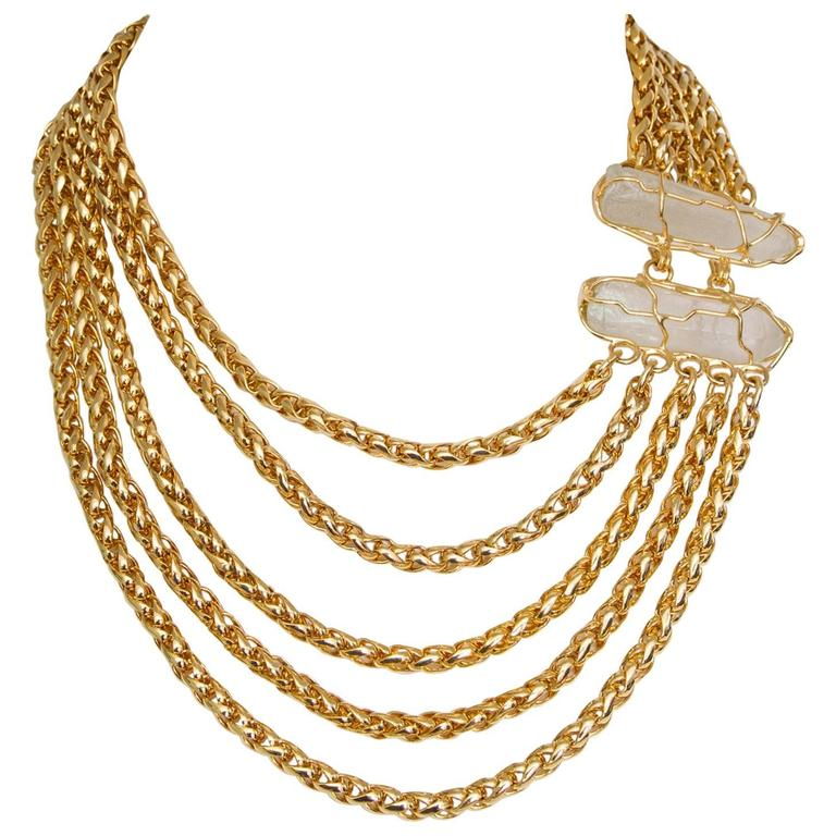 752ffe9e34d Yves Saint Laurent Crystal and Gold-toned Multi-strand Chain Necklace For  Sale