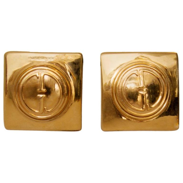A Pair of Gold Plated Gucci Logo Clip-on Earrings 1992 For Sale