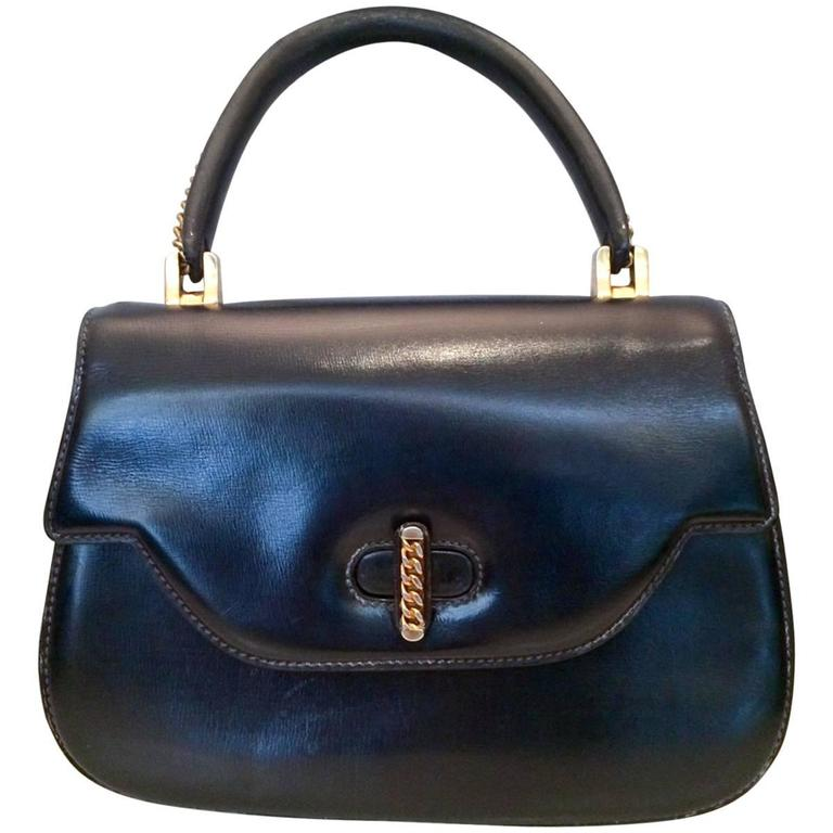 1960s Rare Navy Gucci Bamboo Bag For Sale At 1stdibs