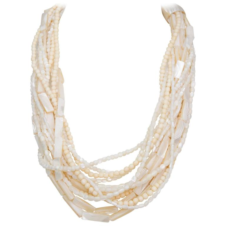 A Gerda Lyngaard for Monies Mother-of-Pearl Multi-Strand Necklace 1