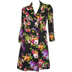Moschino Cheap and Chic Flower Coat - black wool