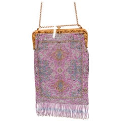 Large Edwardian Cut Steel Evening Bag in Lavender, Blue, Silver and Gold