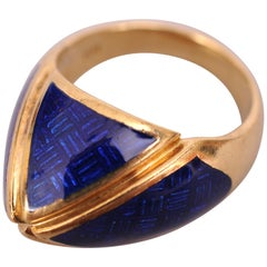 18k Gold and Blue Enamel Dome Ring