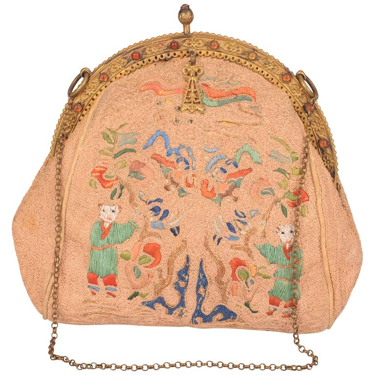 1stdibs Chinese Hand Embroidered Silk Bag SAv2mj2