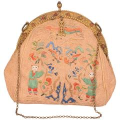 1920's Chinese Hand Embroidered Evening Bag with Jeweled Frame