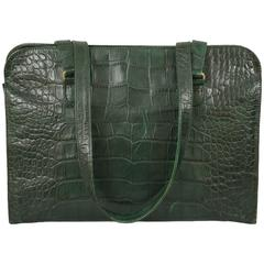 Sonia Rykiel Forest Green Alligator Leather Shoulder Bag