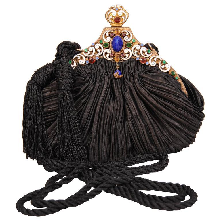 Vintage Jewel and Enamel Frame on Pleated Silk Bag