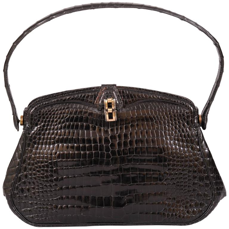 Chic Black Crocodile Evening Bag Hallmarked Sterling and Gold Clasp For Sale