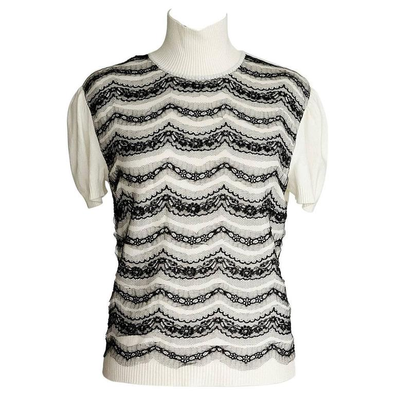 VALENTINO Top Winter White Black Lace and Beaded Overlays L NWT