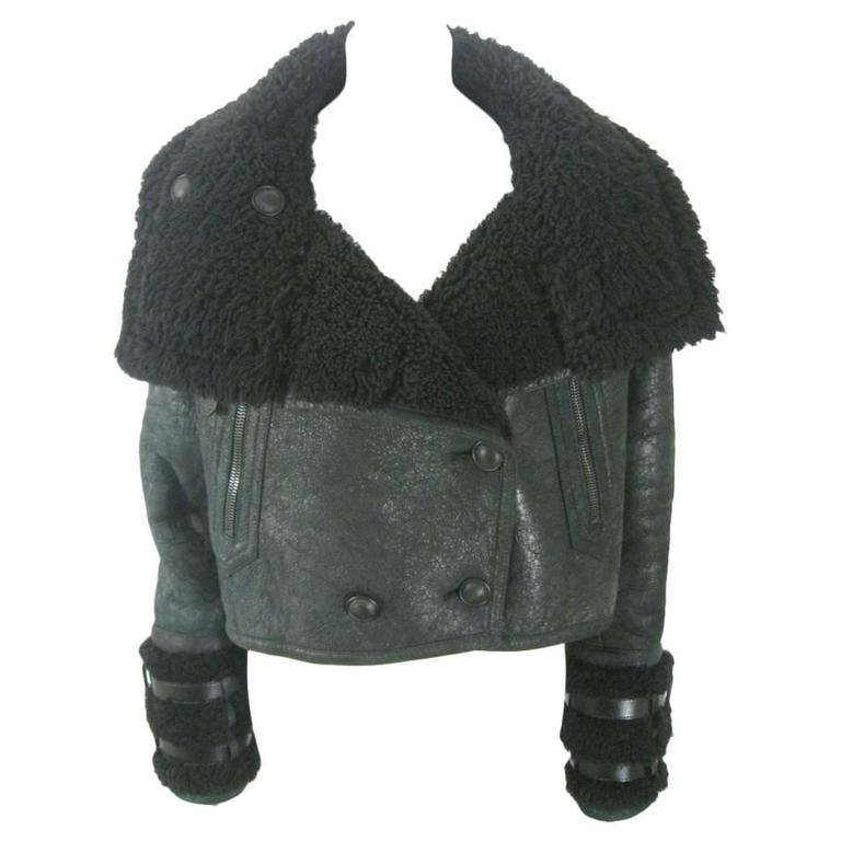 c44bc36fd Burberry Prorsum Black Cropped Shearling Aviator Jacket