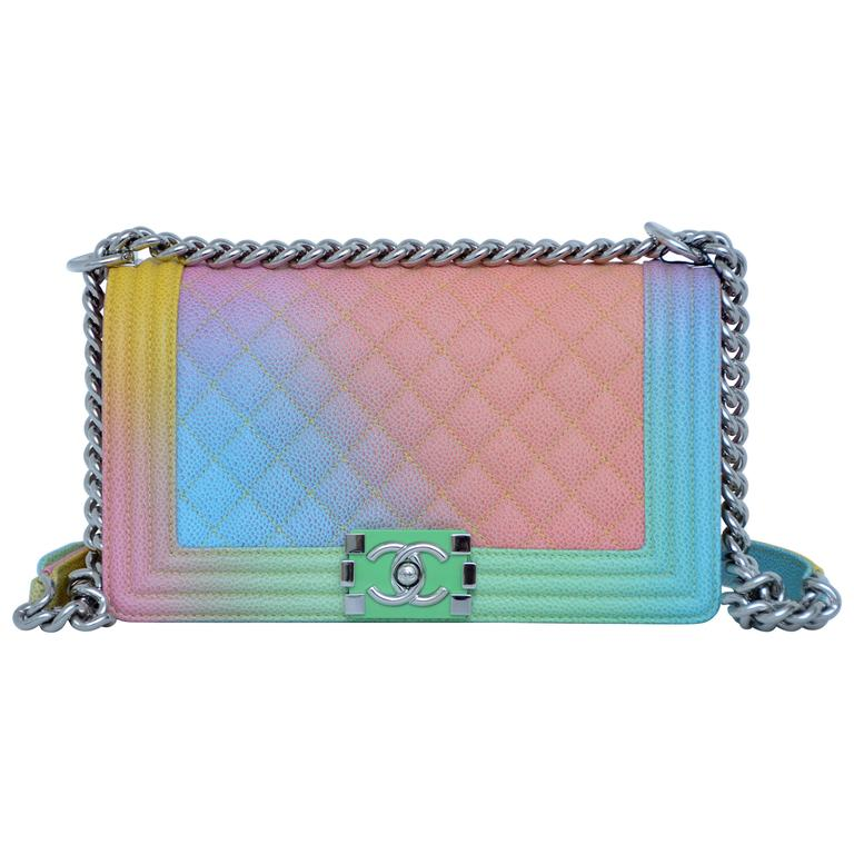 01f14b0b6da3ee Chanel Rainbow Cuba Boy Handbag Medium '17 Crossbody NEW Sold Out For Sale