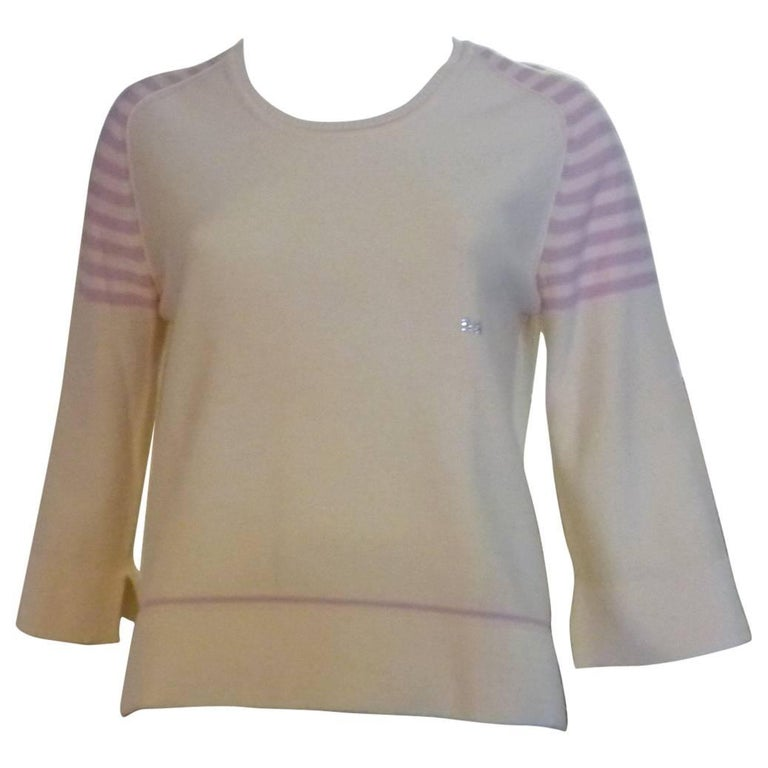 Sonia Rykiel Cream with Pink Stripes Wool Sweater (42 ITL) For Sale