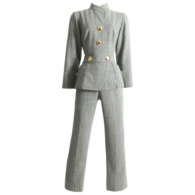houndstooth wool peplum jumpsuit, circa 1960s For Sale