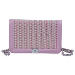 Chanel Baby Pink Wallet On Chain With Sparkling Crystal Embellishments