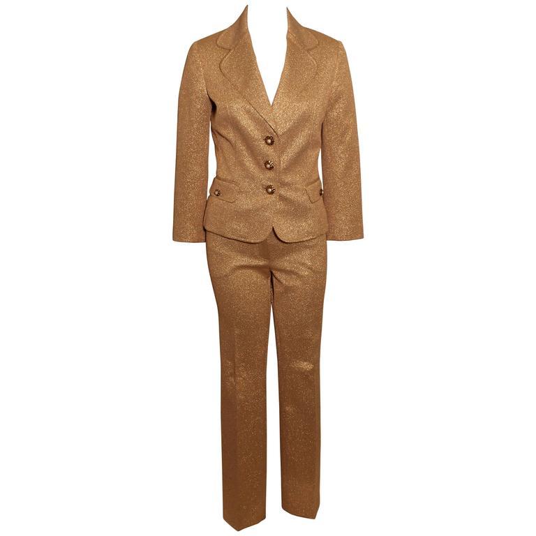 Dolce & Gabbana Metallic Gold Pant Suit