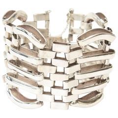 Hallmarked Sterling Silver Modernist Sculptural Cuff /Link Bracelet