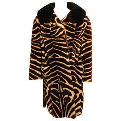 Vintage Tiger Printed Mouton Coat