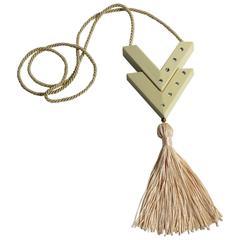 Valentino Vintage Perfume Pendant Pink Tassel Necklace