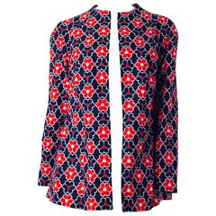 60s Red White and Blue Flower Power Print Mod Jacket