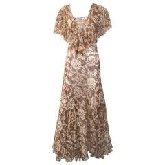 1930s brown and creme floral print silk chiffon dress