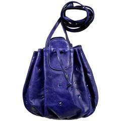 1970's HALSTON royal blue leather bag with rhinestones