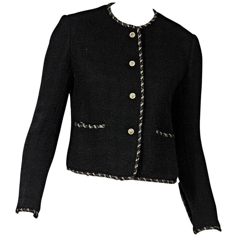 Black Vintage Chanel Wool Coat For Sale
