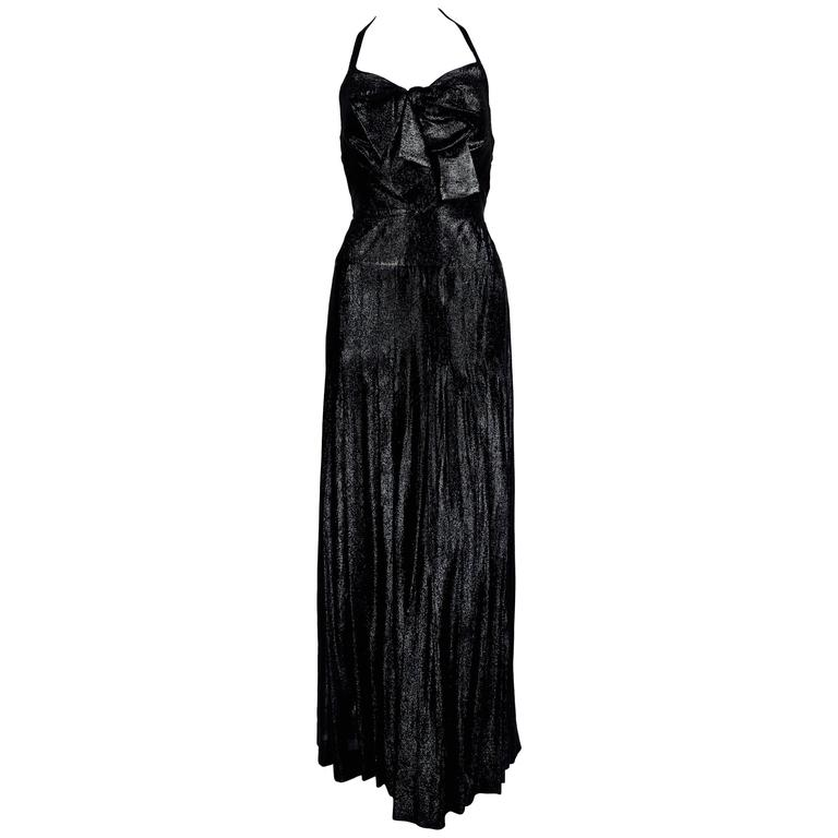 1983 CHANEL metallic black silk maxi gown with bow and keyhole For Sale