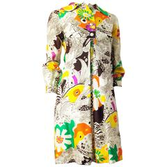 60s Psychedelic Print Coat Dress