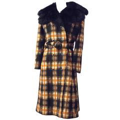 70s Orange and Black Plaid Coat w/ Faux Fur Collar