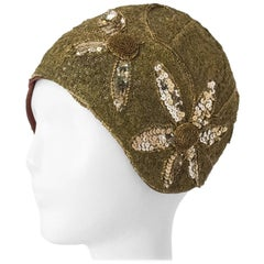 20s Handmade Gold Lace Skull Cap w/ Sequin Flowers