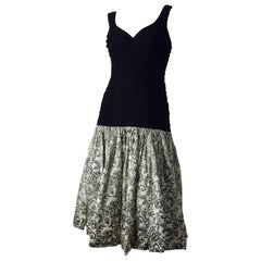 50s Flocked Velvet Drop Waist Cocktail Dress - Inspiration