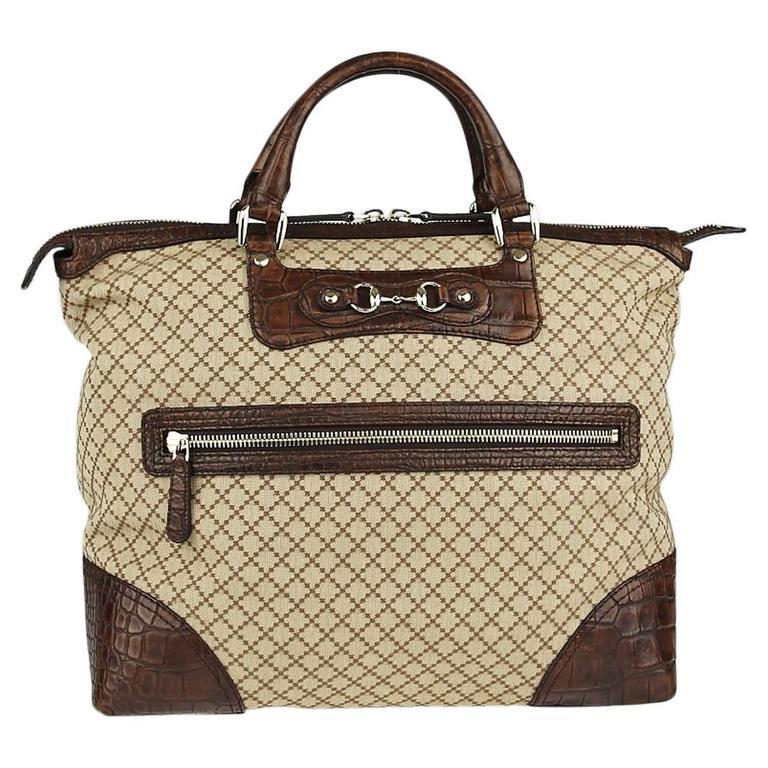 9a663a4ebb04 Gucci Monogram Canvas Men s Weekender Crocodile Carryall Satchel Tote Bag  For Sale