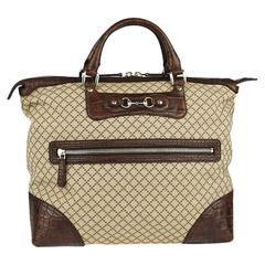 Gucci Monogram Canvas Men's Weekender Crocodile Carryall Satchel Tote Bag