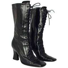 90s Black Leather Laceup Square Toe Boots